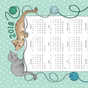 Cats Tea Towel Calendar 2018