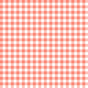coral and white gingham