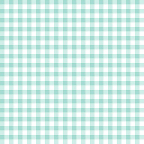 mint and white gingham