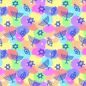 Happy Hanukkah Rainbow Shapes