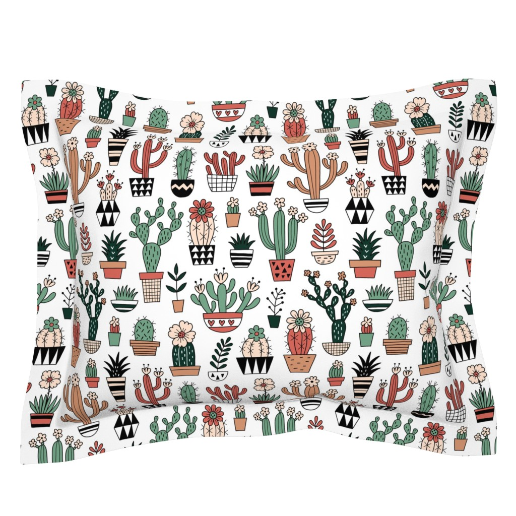 Sebright Pillow Sham featuring Blooming succulents by mirabelleprint