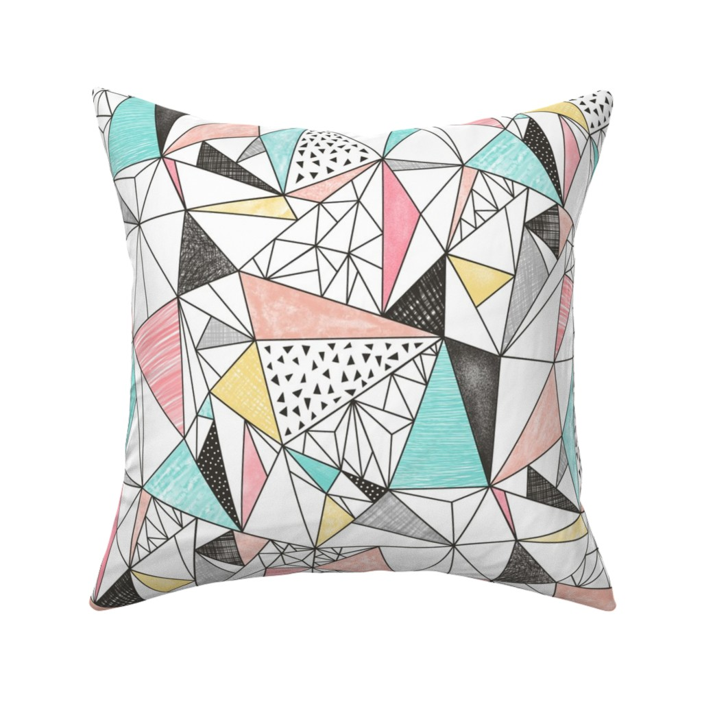 Catalan Throw Pillow featuring Triangles with Watercolor & Pencil by caja_design