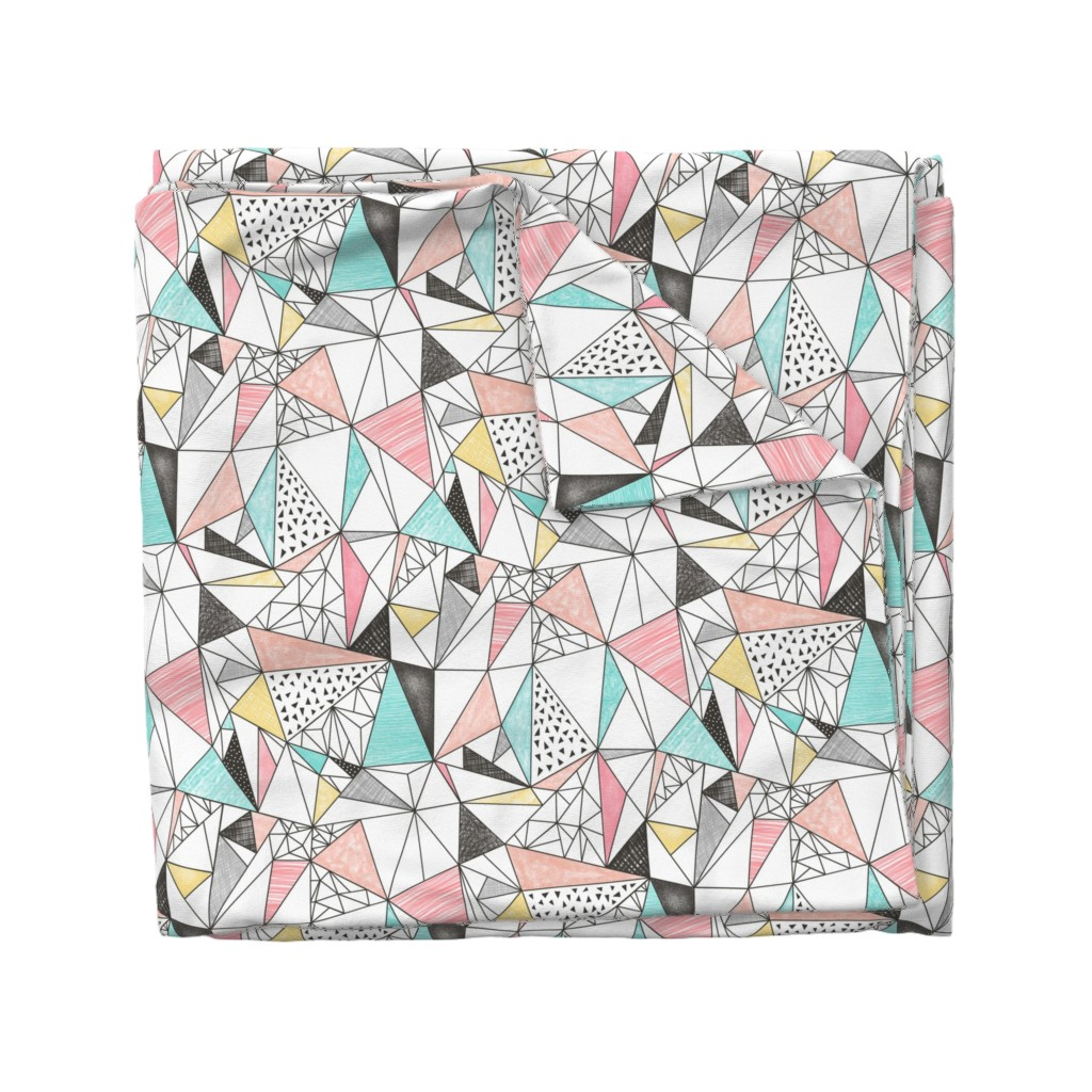 Wyandotte Duvet Cover featuring Triangles with Watercolor & Pencil by caja_design