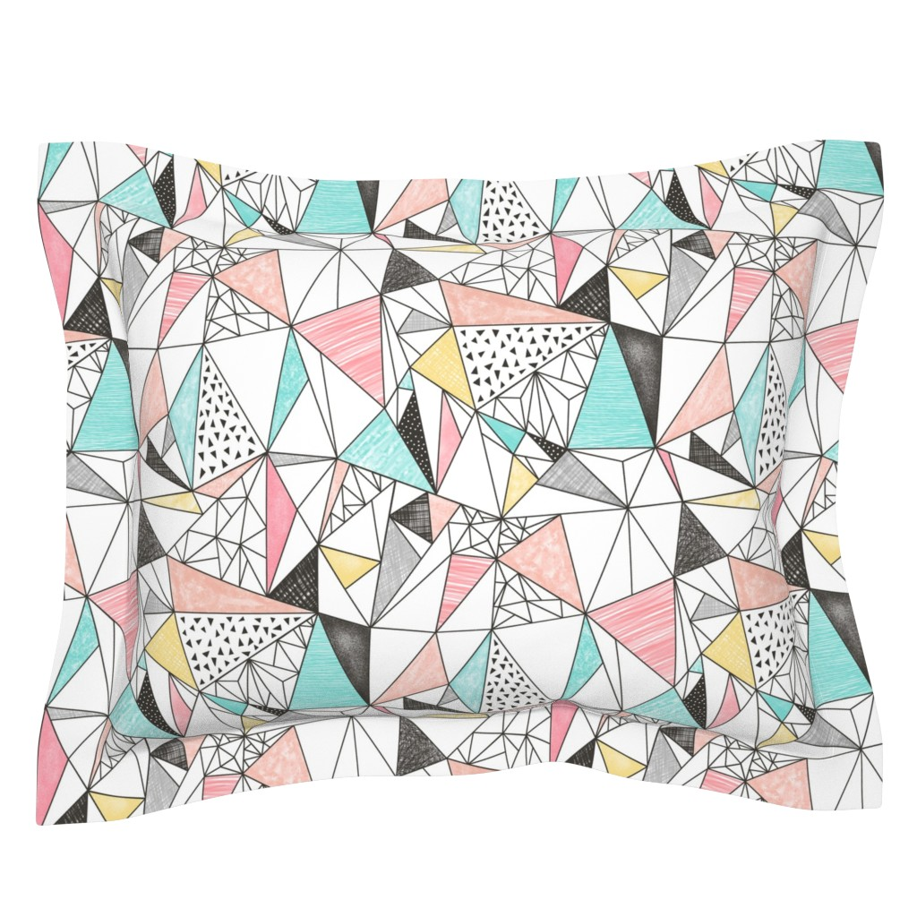 Sebright Pillow Sham featuring Triangles with Watercolor & Pencil by caja_design