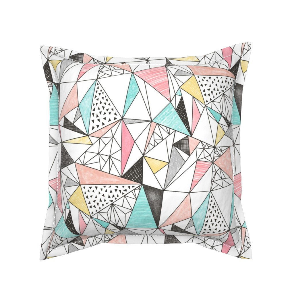 Serama Throw Pillow featuring Triangles with Watercolor & Pencil by caja_design