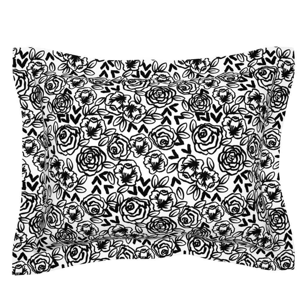 Sebright Pillow Sham featuring roses // black and white florals flower design for illustration pattern print by andrea_lauren