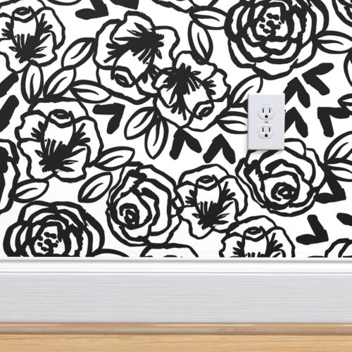 Wallpaper Roses Black And White Florals Flower Design For Illustration Pattern Print
