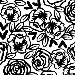 roses // black and white florals flower design for illustration pattern print
