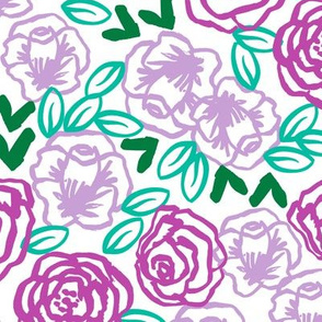roses // two purples bright spring illustration pattern for little girls beautiful cute flower print