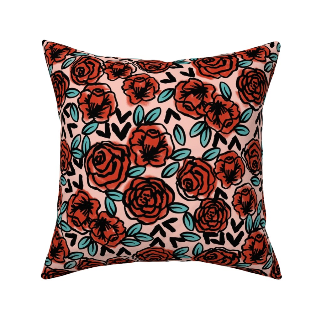 Catalan Throw Pillow featuring roses // red vintage style illustration florals flower pattern by andrea_lauren