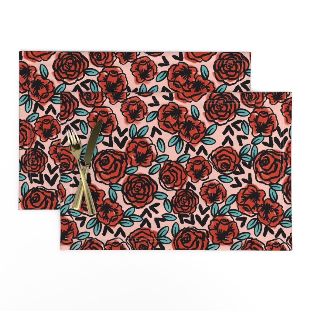 Lamona Cloth Placemats featuring roses // red vintage style illustration florals flower pattern by andrea_lauren