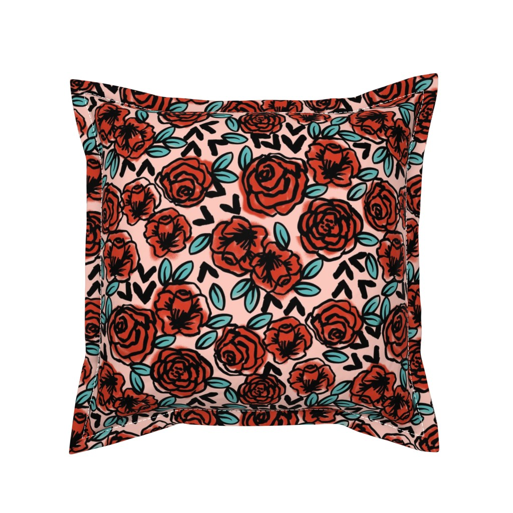 Serama Throw Pillow featuring roses // red vintage style illustration florals flower pattern by andrea_lauren