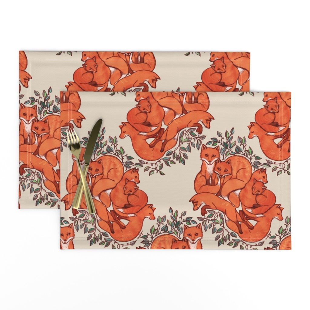 Lamona Cloth Placemats featuring Fox Family Tangle by micklyn