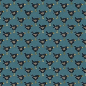 Whimsical Crows on Blue