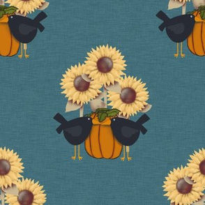 Pumpkins, Crows and Sunflowers