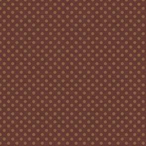 Prim Polka Dots on Dark Rust Brown