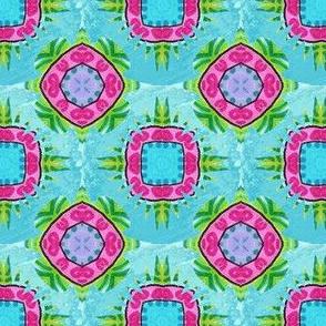 Pink & Green Foulard on Aqua