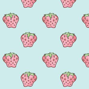 Strawberries on Blue