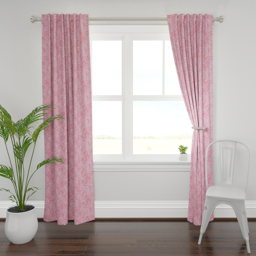 Plymouth Curtain Panel featuring Kelp on Pink with Orange Fish by lauriekentdesigns