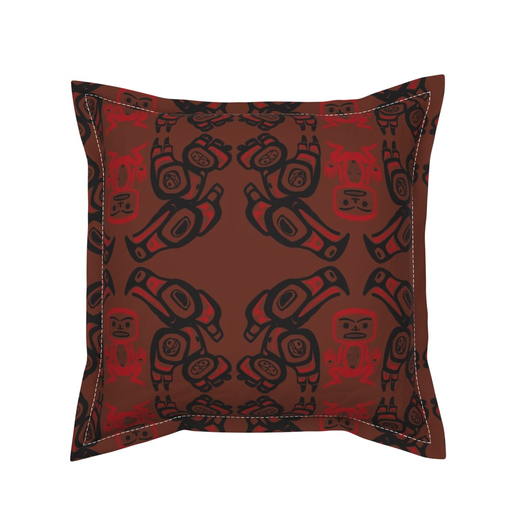 Serama Throw Pillow featuring Twin Peaks The Great Northern Lodge Tribal Painting by elliottdesignfactory