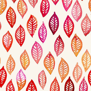Watercolor Leaves in red, pink and orange