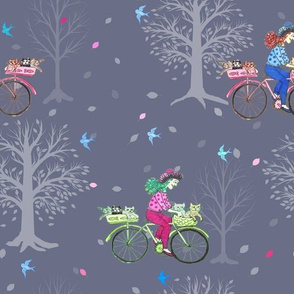 Cats on Bikes , Cycling ladies with cats