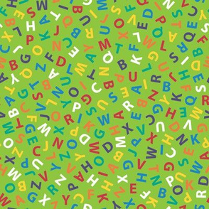 rainbow alphabet on lime green