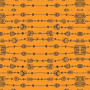 orange and navy arrow doodle