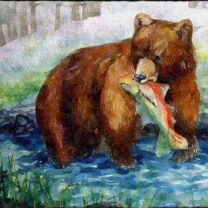Alaskan Bear Catches A Salmon