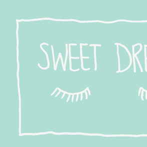 Sweet Dreams Pillowcase panel pair in Mint
