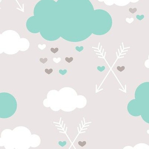 Sweet soft little indian baby dream sleepy night clouds love hearts and indian arrows scandinavian pastel illustration pattern in mint
