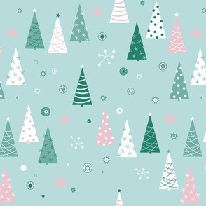 Christmas forest and ornaments