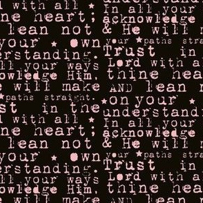 Trust in the Lord | Scripture Quote | Pink Text on Black Background