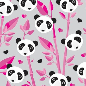 Cute bamboo forest panda love retro style modern kids illustration pattern in gray and pink