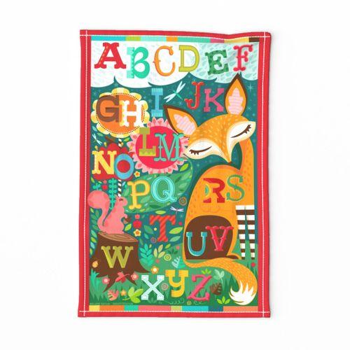Fox & Squirrel Alphabet Tea Towel