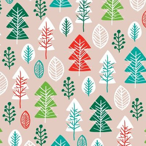 Colorful vintage green and red gender neutral christmas holiday season december christmas tree woodland illustration print