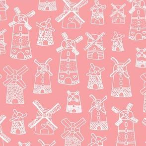 Fuchsia pink purple windmill illustration Holland travel pattern
