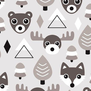Geometric fox grizzly bear moose and wolf pine tree illustration winter woodland pattern gender neutral