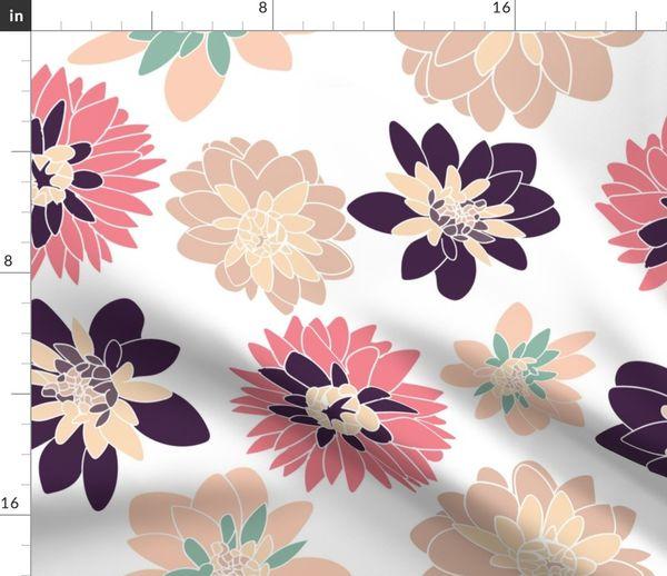Stoff Meterware Blumen Vintage Garten Dahlien Neu England Blumen