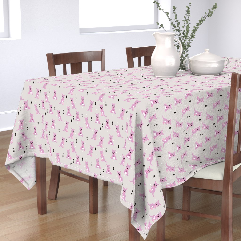 Bantam Rectangular Tablecloth featuring Adorable australian animals kids geometric kangaroo girls illustration pattern by littlesmilemakers