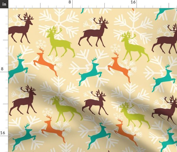 Fabric By The Yard Christmas Reindeer Pattern 01