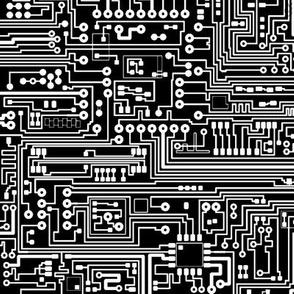 Circuit Board // White on Black // Small