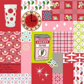 Dinette (Red) || vintage style cheater quilt tablecloth kitchen spice herb glassware atomic midcentury modern potholder polka dot picnic basket plaid geometric fire king mug flower floral patchwork star