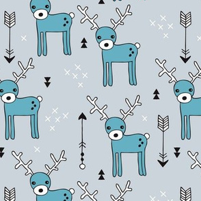 Cute winter reindeer christmas theme illustration with geometric arrows and triangles in soft blue