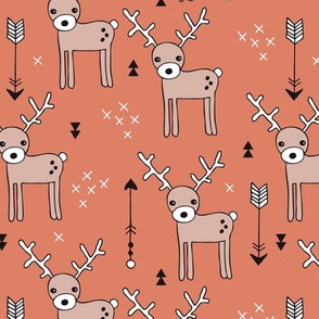 Cute winter reindeer christmas theme illustration with geometric arrows and triangles in rusty orange
