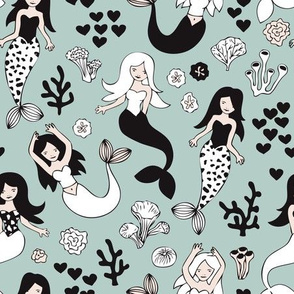 Sweet little mermaid girls theme with deep sea ocean coral illustration details in green black and white