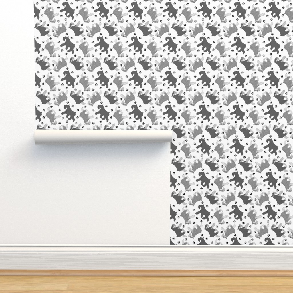 Isobar Durable Wallpaper featuring Trotting Miniature Schnauzers and paw prints - white by rusticcorgi