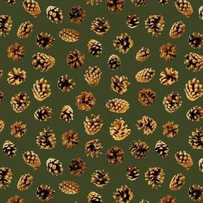 mini pine cones on green