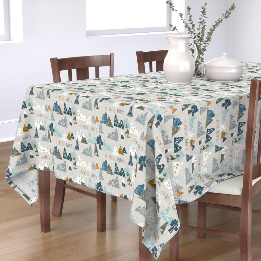 Bantam Rectangular Tablecloth featuring Adventure Awaits (earth) REGULAR by nouveau_bohemian