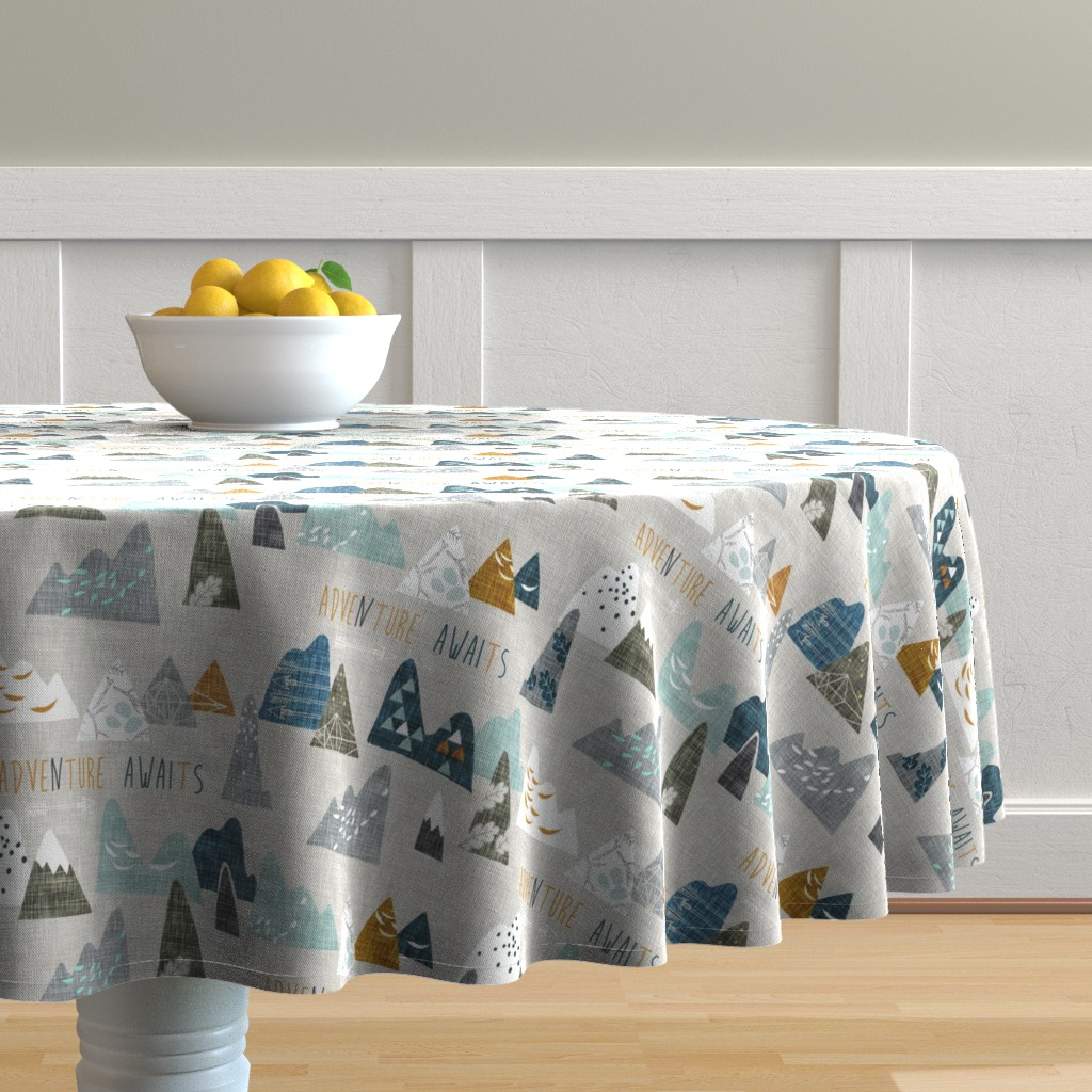 Malay Round Tablecloth featuring Adventure Awaits (earth) REGULAR by nouveau_bohemian